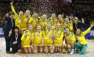 2015 World Netball Cup Allphones Arena Gold Medal Game Australia v NZ Caitlin Bassett celebrating the win with teammate Sharni Layton. Picture: David Callow